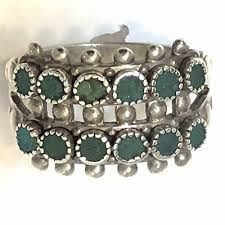 vintage sterling silver ring zuni petite point turquoise snake eye double row