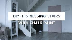 Painted Wood Stairs Diy Painting Stairs With Chalk Paint Distressed Effect Youtube
