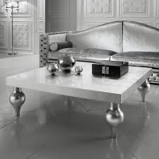 high end italian silver leaf low square coffee table