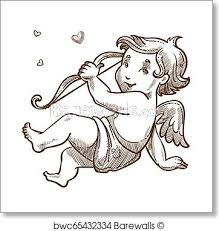 Angel Sketch Cupid With Bow Valetines Day Baby Angel Sketch Art Print Poster