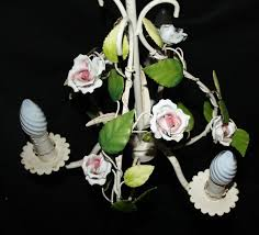 a french toleware chandelier ceramic pink roses ceiling light ref ajn11