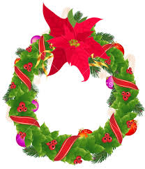 Christmas Holly Garland With Red And Golden Ribbons And