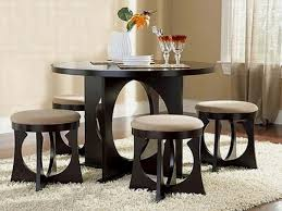 small dining tables sets:  round white wooden small dining room sets with