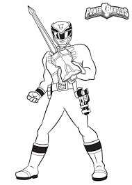 Awesome Power Rangers Guard Holding A Sword Free Coloring Book