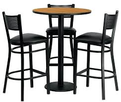 round bar tables and stools round top bar height table w 3 grid back metal bar