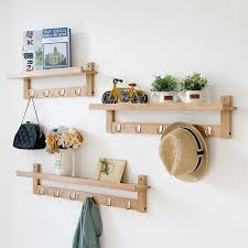 wall storage shelf with hooks. Actionclub Bamboo Wall Storage Racks DIY Wooden Shelf With Hooks Creative Home Decor Clothes Throughout