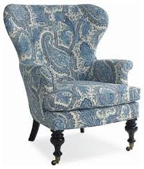 Image Floral Paisley Mary Blue White Paisley Wing Chair Traditional Armchairs Other Metro Charlotte And Ivy Pinterest Mary Blue White Paisley Wing Chair Traditional Armchairs