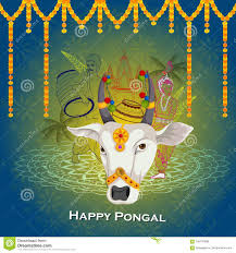 Happy Pongal Festival Of Tamil Nadu India Background Stock Vector