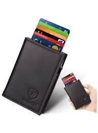 genuine leather wallets mens credit card holder rfid blocking automatic pop up men card case wallet