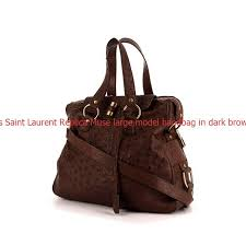 high quality yves saint lau replica muse large model handbag in dark brown ostrich leather