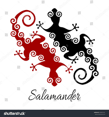 Stylized Salamander Icons Isolated On White Stock Vector Royalty