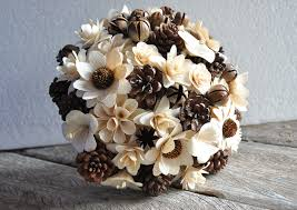 pine cones and wooden flowers bouquet