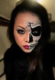 half skeleton makeup wearing that to