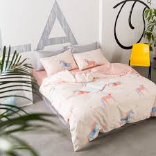 aliexpress com cartoon unicorn bedding sets king queen twin size 100 cotton duvet cover set comfortable and cozy bedclothes for living room from