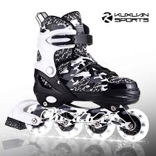 Roller Derby Boy S Tracer Adjustable Inline Skate Size Chart Kuxuan Boys Camo Black Silver Adjustable Inline Skates With Light Up Wheels Fun Illuminating Roller Blading For Kids Girls Youth