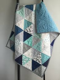 25+ unique Baby quilts ideas on Pinterest | Baby quilt patterns ... & Modern Baby Quilt - grey, aqua, white and navy triangles Adamdwight.com