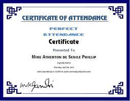 Perfect Attendance Certificate Template Attendance