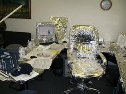 Office desk pranks ideas Foil Funnyimaturetinfoilofficedeskprankwrapped Snacknation The Only List Of Office Prank Ideas Youll Ever Need Wtf Prank