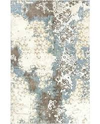 cream and brown area rug rugs rectangular hand knotted traditional 5 x blue gray wade size