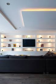 Mood Lighting Living Room Living Room Open Plan Seating Feature Built In Wall Shelving