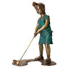 girl golfer cast bronze garden statue