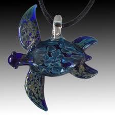 large cobalt blue sea turtle pendant hand blown glass