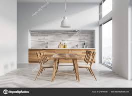 Weiße Küche Und Esszimmer Innenraum Mit Weißen Wänden Weißen