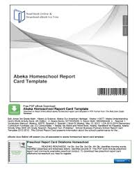 Report Card Template Pdf Fillable Online Abeka Homeschool Report Card Template Fax Email
