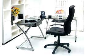 Black Glass Desk Home Office Computer Desk Small Steel Glass Table