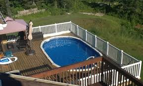above ground pool with deck surround. Hill Oval Above Ground Pool Deck Ideas With Surround B