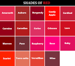 39 Particular Shades Of Red Color Chart With Names