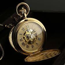 25 best ideas about mechanical pocket watch pocket golden vintage mans skeleton engraved wind up mechanical men chain pocket watch