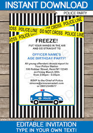 diy birthday party invitation template. police birthday party invitations | car editable diy theme template diy invitation