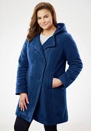 plus size hooded fleece pea coat
