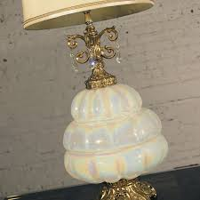 sold vintage hollywood regency opalescent blown glass lamp with teardrop crystals warehouse414