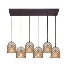 titan lighting brimley 6 light rectangle in oil rubbed bronze pendant with raised diamond texture