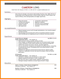 8 Hr Manager Resume Sample Address Example