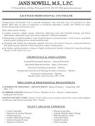 Resume For Counselor Counseling Resume Pelosleclaire Com