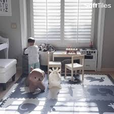 safari animals kids play mat sets with borders black gray white
