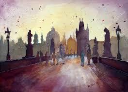charles bridge prague watercolor painting by jane beata
