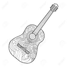 Acoustic guitar coloring book for adults vector illustration