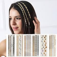 Us 109 1 Pcs New Flash Leaf Gold Temporary Hair Tattoo Sexy Women Hair Wrist Body Art Jewelry Tattoo Sticker Design Hair Styling Tool In Braiders