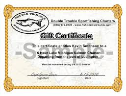 Purchase Personalize Gift Certificates For Fishing Charters