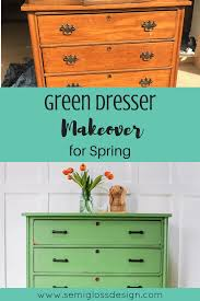 green painted furniture. This Dresser Makeover Features Country Chic Paint In Rustic Green. # Paintedfurniture #countrychicpaint Green Painted Furniture -