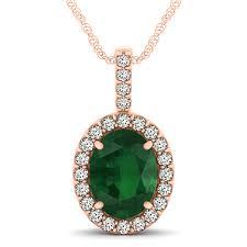 emerald diamond halo oval pendant