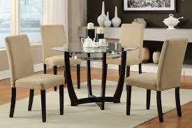 glass dining room table with leather chairs. dining room view with wooden floor curtained windows four leather chairs and glass round table a