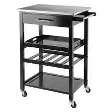 winsome wood anthony black kitchen cart with stainless steel top