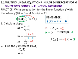 8 5 1 writing linear equations in slope intercept form given two points in function notation