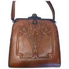 1920 s arts crafts embossed leather purse handbag by nocona bags
