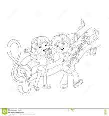 Small Picture coloring page outline of boy and girl singing a song coloring page